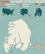 Ketchikan Gateway Borough Alaska USA - stock illustration