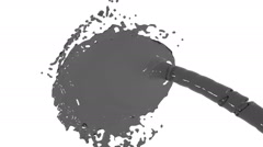 Grey liquid flow falls on surface in slow motion Stock Footage