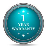 1 year warranty icon. Internet button on white background.. - stock illustration