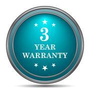 3 year warranty icon. Internet button on white background.. - stock illustration
