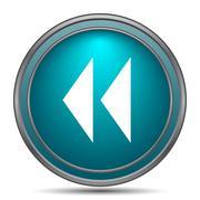 Rewind icon. Internet button on white background.. - stock illustration