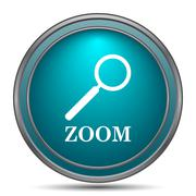 Zoom with loupe icon. Internet button on white background.. Stock Illustration