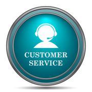 Customer service icon. Internet button on white background.. - stock illustration