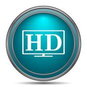 HD TV icon. Internet button on white background.. - stock illustration
