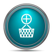 Add to basket icon. Internet button on white background.. - stock illustration