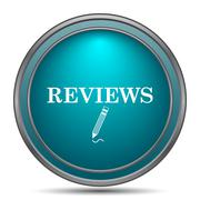 Reviews icon. Internet button on white background.. - stock illustration