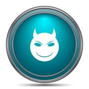 Evil icon. Internet button on white background.. - stock illustration