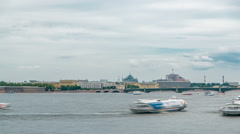 View of the Trinity Bridge in St. Petersburg over the Neva River timelapse Stock Footage