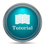 Tutorial icon. Internet button on white background.. - stock illustration