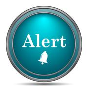 Alert icon. Internet button on white background.. - stock illustration