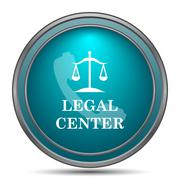 Legal center icon. Internet button on white background.. - stock illustration