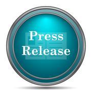 Press release icon. Internet button on white background.. Stock Illustration