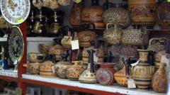 Traditional souvenir shop Thessaloniki, Greece Stock Footage
