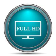 Full HD icon. Internet button on white background.. Stock Illustration