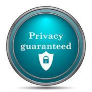Privacy guaranteed icon. Internet button on white background.. - stock illustration