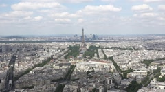 Eiffel Tower Zoom In From Top Of Montparnasse Tower, France Stock Footage