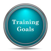 Training goals icon. Internet button on white background.. - stock illustration