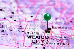 Mexico City pinned on a map of Mexico Stock Photos