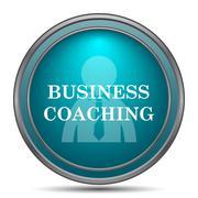 Business coaching icon. Internet button on white background.. Stock Illustration