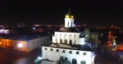 Aerial view of the Golden Gates in ancient city of Vladimir. Stock Footage
