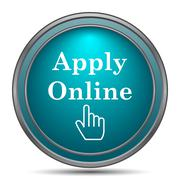 Apply online icon. Internet button on white background.. - stock illustration