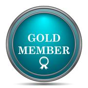Gold member icon. Internet button on white background.. Stock Illustration