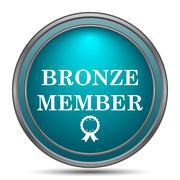 Bronze member icon. Internet button on white background.. - stock illustration
