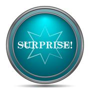 Surprise icon. Internet button on white background.. - stock illustration