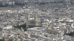 Church of Saint Sulpice Zoom Out To City Of Paris Panoramic View Stock Footage
