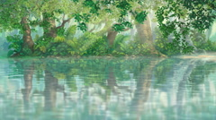 Rays of sunshine on river inside green illustration forest moving camera Stock Footage