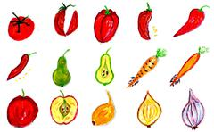 Fruits and Vegetables Art Stock Illustration