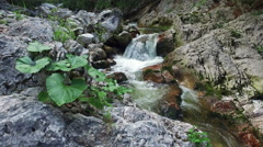 4K. Motion view of Wild river in Alps Mountains, clean blue water. Stock Footage