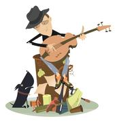 Sad blues or jazz man plays guitar Stock Illustration