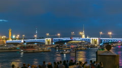 View of the opening Palace Bridge timelapse, which spans between - the spire of Stock Footage
