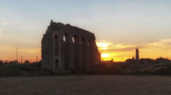 Sunset on the ancient Roman civilization, aqueduct - stock footage