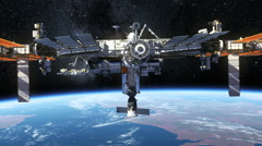 International Space Station Orbiting Earth - stock footage