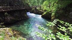 4K. Radovna river flows in Vintgar Gorge. People have a rest on the bridge. Stock Footage