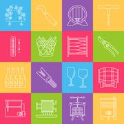 Set of winemaking, wine tasting icons Stock Illustration