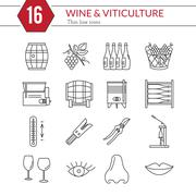 Set of winemaking, wine tasting icons - stock illustration