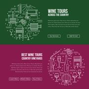 Website landing page template for wine industry - stock illustration