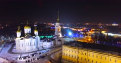 Aerial view of the night Dormition Cathedral, Russian city Vladimir. Stock Footage