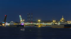 The Blagoveshchensky Annunciation Bridge timelapse during the White Nights in St Stock Footage