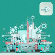 Hi-tech background with navigation icon Stock Illustration