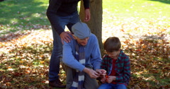 Three generations of men outdoors Stock Footage