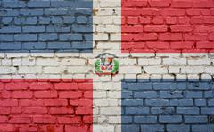 Flag of Dominican Republic painted on brick wall, background Kuvituskuvat