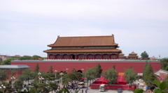 The territory of the Forbidden City Museum in Beijing in the heart of city Stock Footage