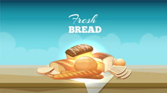 Bread banner animation with buns and loaves - stock footage