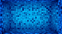 Room of blue cubes extruding. Seamless loop 3D animation 4k UHD (3840x2160) Stock Footage