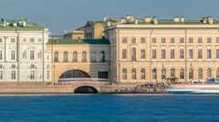 People on the Hermitage Bridge and stairs near the Neva River timelapse Stock Footage