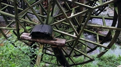 steel water wheel turning under power - stock footage